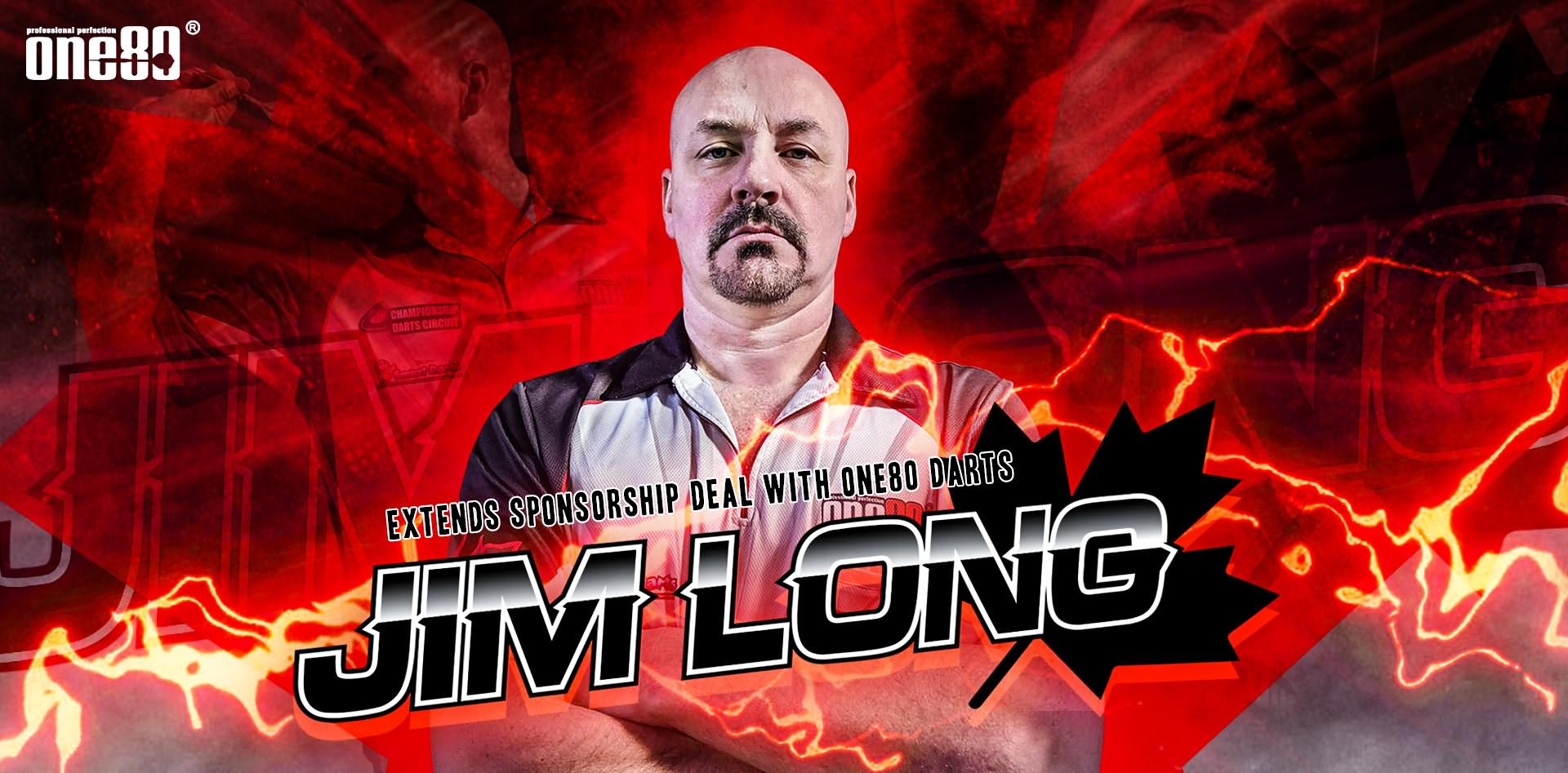 Jim Long, extends sponsorship, one80 darts